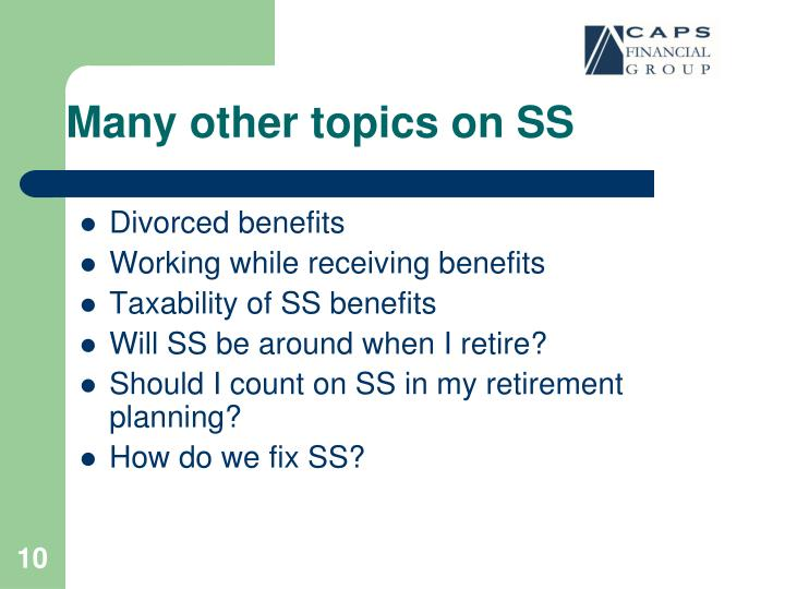 Many other topics on SS