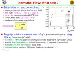 azimuthal flow what next