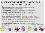 informational texts have clear text structures