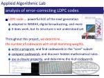 analysis of error correcting ldpc codes