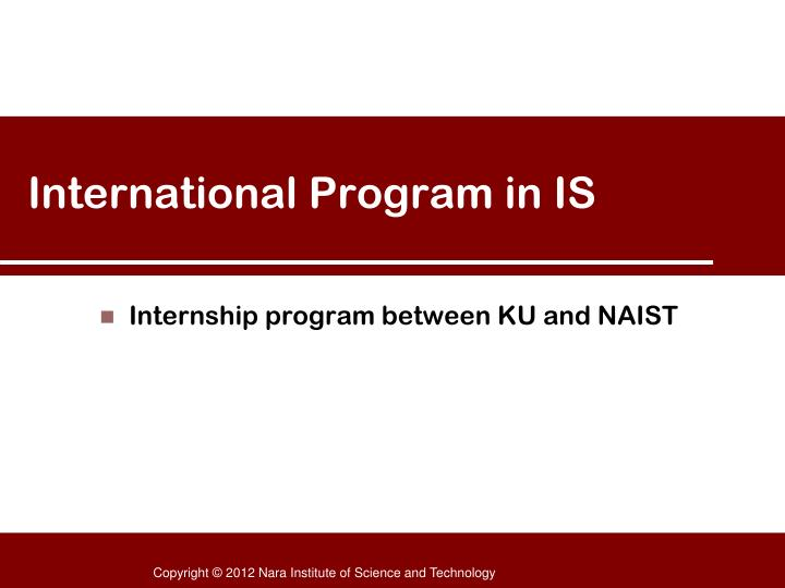 international program in is n.