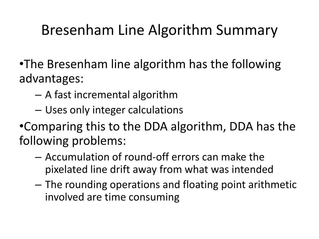 PPT - Line Drawing Algorithms - Bresenham - PowerPoint