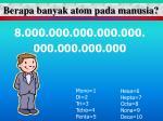 berapa banyak atom pada manusia