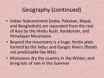 geography continued