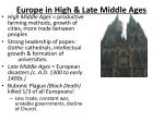 europe in high late middle ages