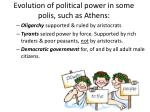evolution of political power in some polis such as athens