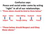 confucius says peace and social order come by acting right in all of our relationships