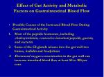 effect of gut activity and metabolic factors on gastrointestinal blood flow