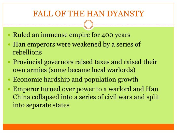 FALL OF THE HAN DYANSTY