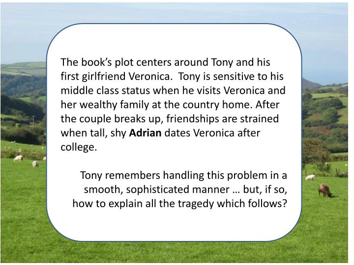 The book's plot centers around Tony and his first girlfriend Veronica.  Tony is sensitive to his middle class status when he visits Veronica and her wealthy family at the country home. After the couple breaks up, friendships are strained when tall, shy