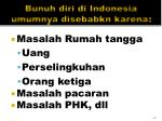 bunuh diri di indonesia umumnya disebabkn karena