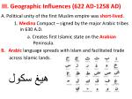 iii geographic influences 622 ad 1258 ad