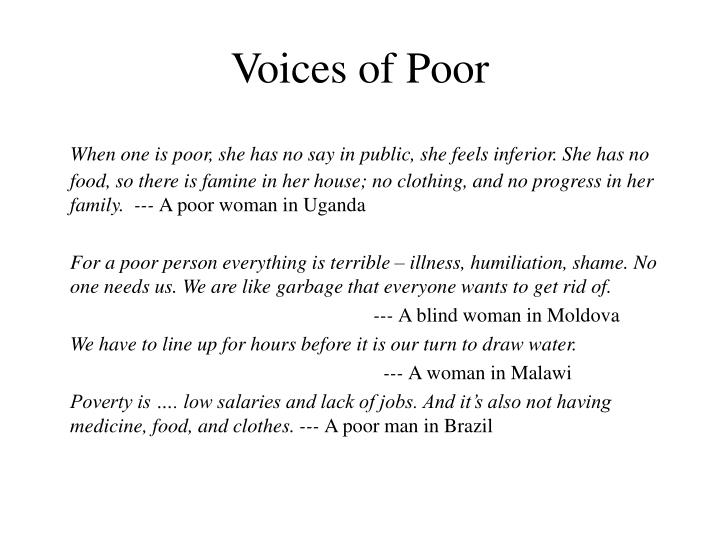 voices of poor n.