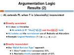 argumentation logic results 2