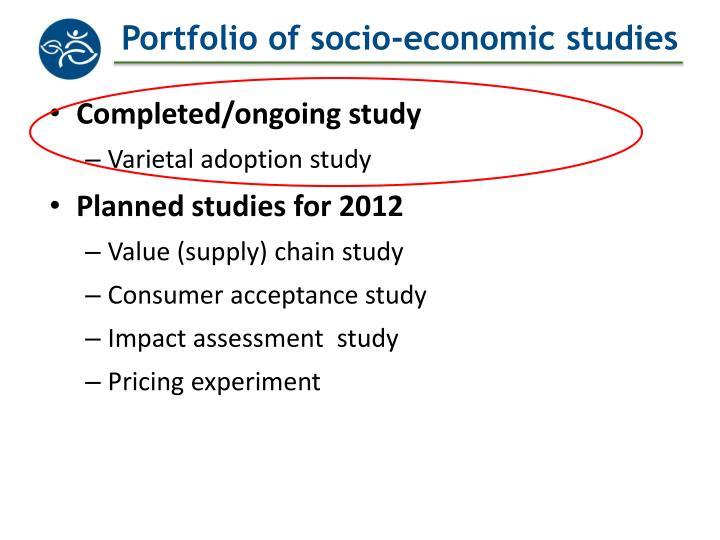 Portfolio of socio economic studies