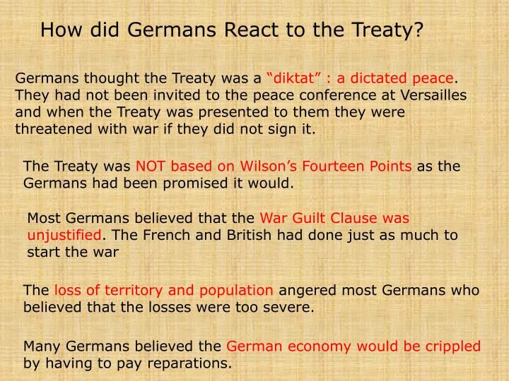 How did Germans React to the Treaty?