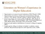literature on women s experience in higher education
