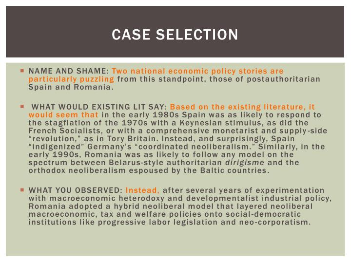 Case selection