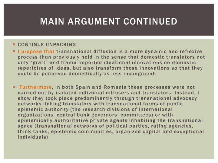 Main argument continued