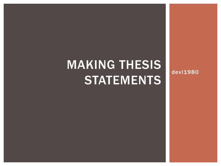 Making thesis statements