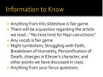information to know