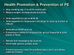 health promotion prevention of pe