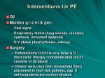 interventions for pe