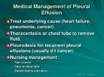 medical management of pleural effusion