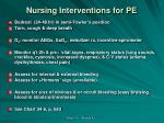 nursing interventions for pe