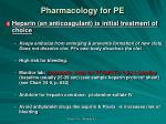 pharmacology for pe
