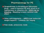 pharmacology for pe2