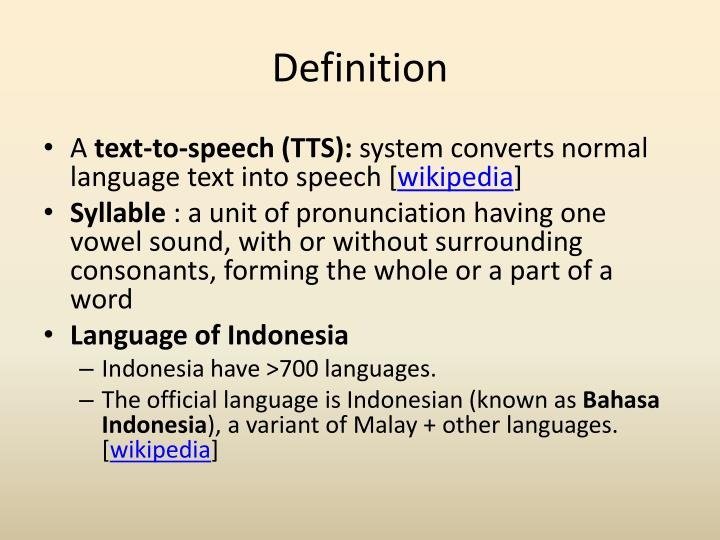 PPT  Portable Text to Speech for Indonesian Language Bahasa PowerPoint Presentation  ID:2079307