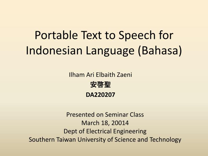 portable text to speech for indonesian language bahasa n.