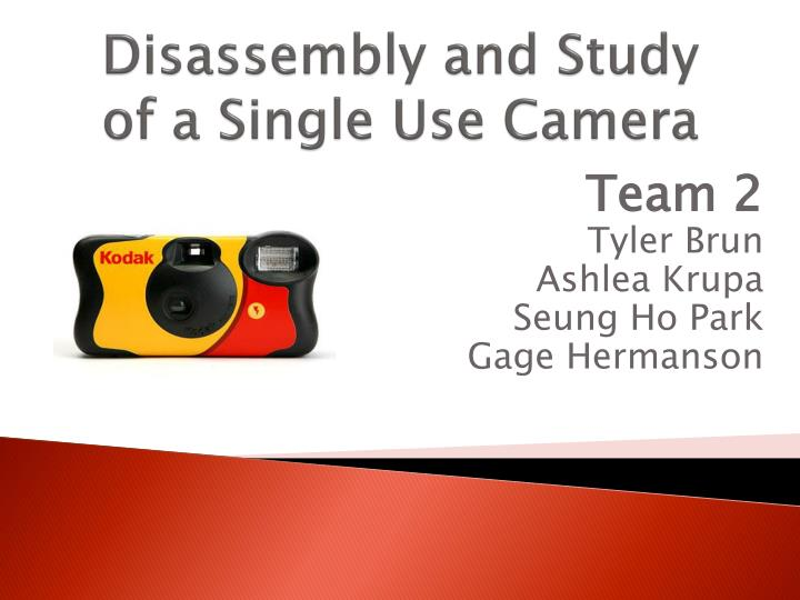 disassembly and study of a single use camera n.
