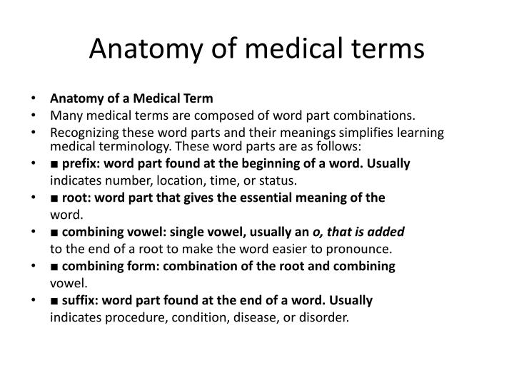 Ppt Anatomy Of Medical Terms Powerpoint Presentation Id2079392