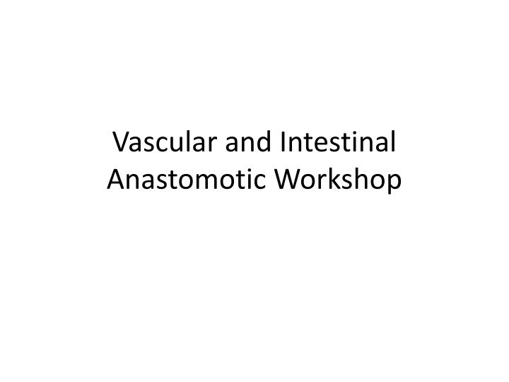 vascular and intestinal anastomotic workshop n.