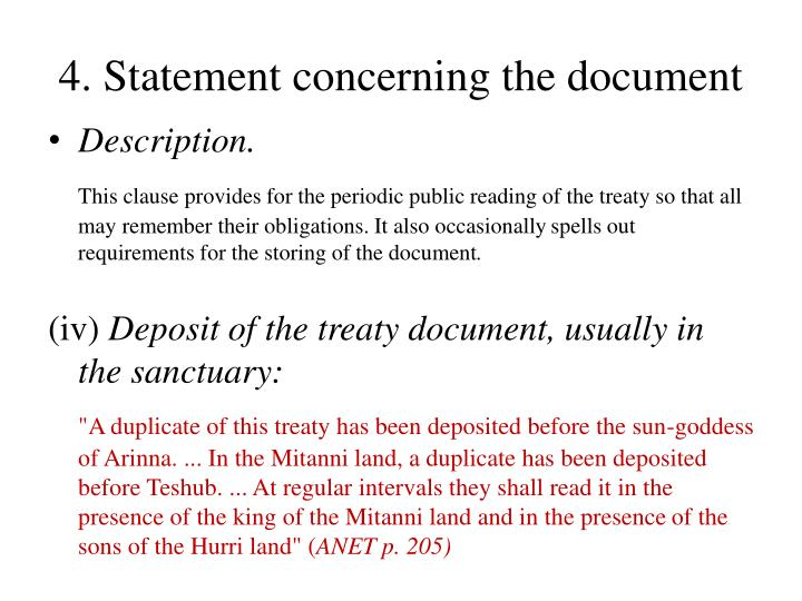 4. Statement concerning the document