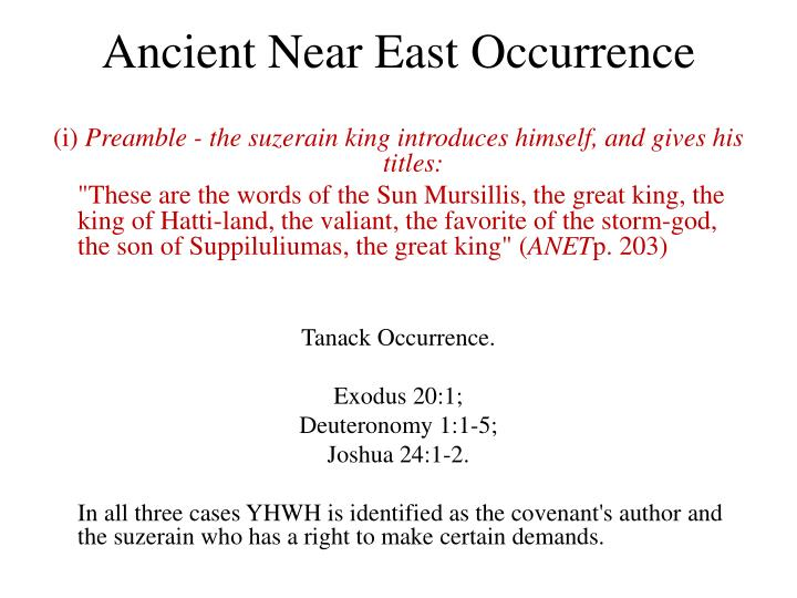 Ancient Near East Occurrence