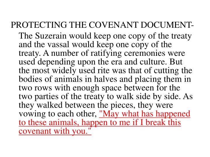 PROTECTING THE COVENANT DOCUMENT-