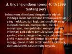 d undang undang nomor 40 th 1999 tentang pers