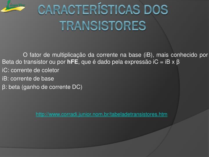 O fator de multiplicação da corrente na base (iB), mais conhecido por Beta do transistor ou por