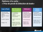options la carte prise de parole d tection de leads