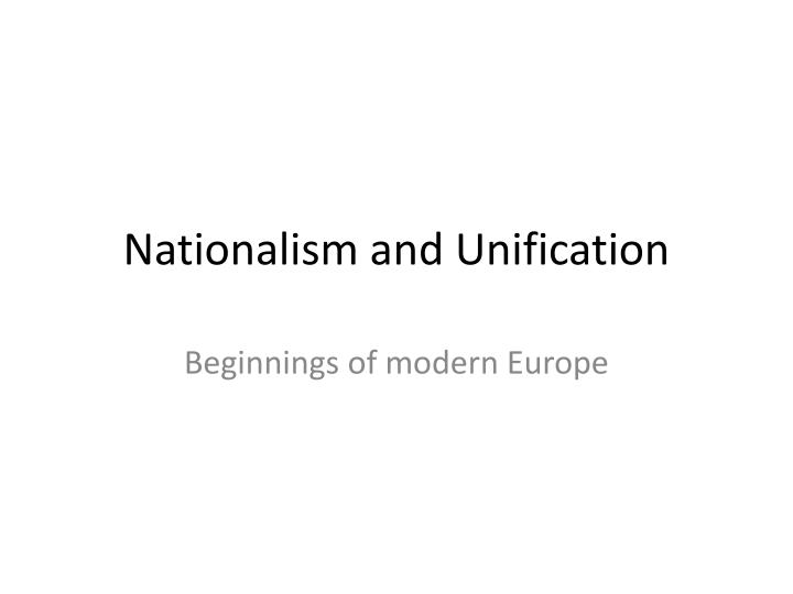 nationalism and unification n.