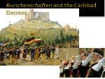 burschenschaften and the carlsbad decrees