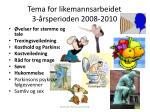 tema for likemannsarbeidet 3 rsperioden 2008 2010