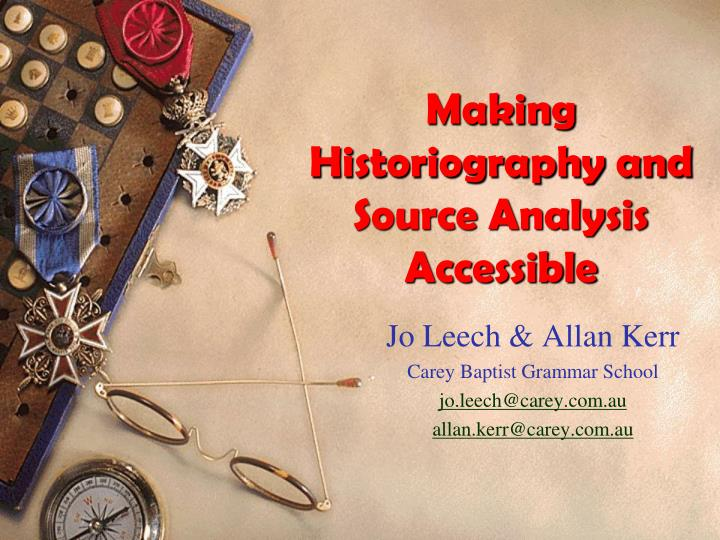making historiography and source analysis accessible n.