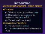 introduction cosmological argument kalam version