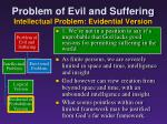 problem of evil and suffering intellectual problem evidential version3