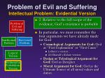 problem of evil and suffering intellectual problem evidential version8