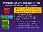 problem of evil and suffering intellectual problem logical version3